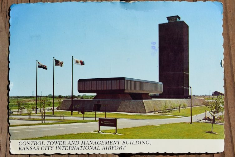 A postcard showing views of Kansas City International airport from 1976. A lot has changed since then.