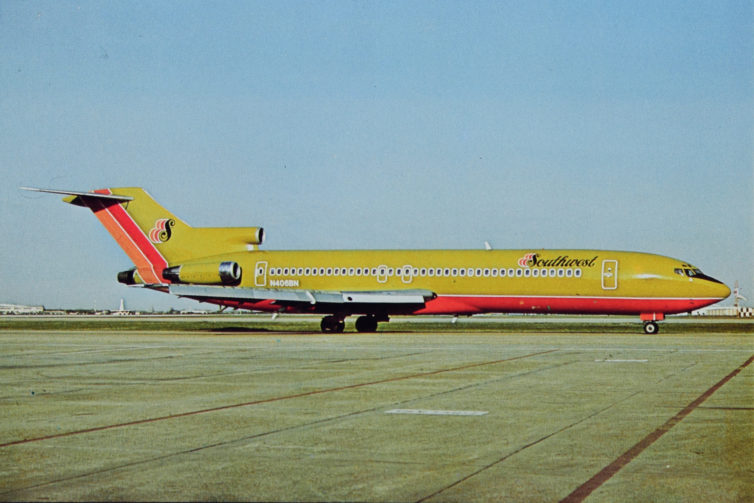 A postcard from Southwest's brief experiment with 727s. Here's N406BN seen at HOU in 1979.